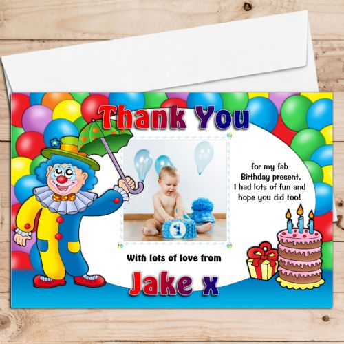 10 Personalised Boys Girls Clown & Balloons Birthday Party Thank you Photo cards N3